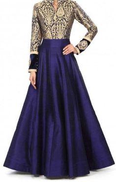 Art+Silk+Machine+Work+Blue+Semi+Stitched+Long+Anarkali+Suit+-+PG01 at Rs 1499