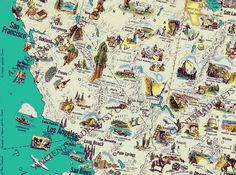For the boy's room? Very detailed....Vintage illustrated map of US  45  x 34  restored by AncientShades, $82.00