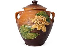LAURIE FRANK  Large Roseville Water Lily Cookie Jar