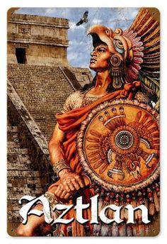Vintage Aztlan Metal Sign 12 x 18 Inches Mayan Symbols, Viking Symbols, Egyptian Symbols, Viking Runes, Ancient Symbols, Mexican American, Mexican Art, Jesus Helguera, Arte Latina