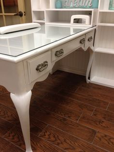 Shabby distressed queen ann desk converted into a fabulous chic nail station