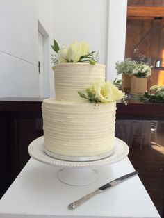 Two tier frosted cake by The Birdcage, Stellenbosch Bird Cage, Frost, Wedding Cakes, Wedding Decorations, Desserts, Wedding Gown Cakes, Tailgate Desserts, Deserts, Cake Wedding
