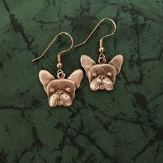 Bronze French Bulldog Earrings by TheMagicZoo on Etsy, $48.00
