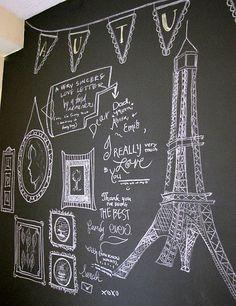 Chalkboard wall idea with Eiffel tower.