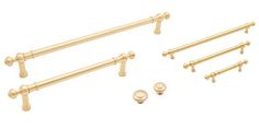The Satin Brass Finish Hardware within the Plain Rod Series Decorative Cabinet Hardware Collection from RK International includes standard sized cabinet & drawer pulls, oversized handles, appliance pulls and a matching knob in two sizes. This contemporary series features smooth plain rods with decorative ends and a ringed face knob in two sizes.