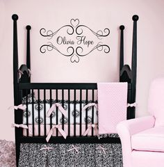 Heart Vinyl Wall Decal - Baby Nursery Name Wall Decal Shabby Chic Frame for Girl Room  22Hx37W FS014. $42.00, via Etsy.
