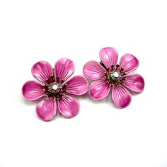 Metal Flower Earrings Lavender or Lilac by AtticDustAntiques, $16.00