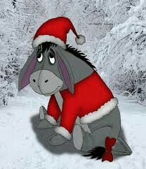Although he represents depression this picture makes me so happy and warm insid Niedlich Eeyore Quotes, Winnie The Pooh Quotes, Disney Winnie The Pooh, Disney Love, Winnie The Pooh Christmas, Disney Christmas, Christmas Art, Christmas Donkey, Eeyore Pictures