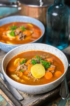 Recipe for simple minced meat soup – About Healthy Meals Mini Beef Wellington, Wellington Food, Inexpensive Meals, Cheap Dinners, Easy Dinners, Good Food, Yummy Food, Cooking On A Budget, Recipes