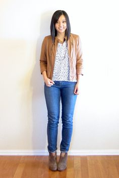 jacket, patterned top, jean, booties.