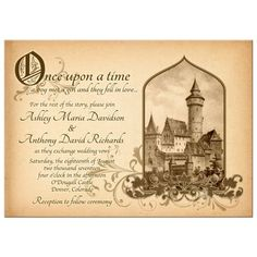 Vintage fairy tale castle once upon a time wedding invitation. This sepia toned design features a vintage castle illustration paired with floral flourishes.   #weddings #fairytale #onceuponatime #invitation