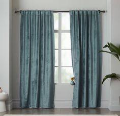 West Elm   Luster Velvet Curtain Blue Stone