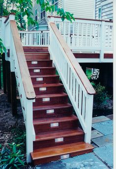stain deck floor and stairs, paint rails...---what I love is the lights installed in the outdoor stairs - how smart is that~