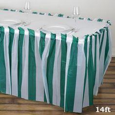 c0b74b592 14FT White/Hunter Green Stripe Disposable Waterproof Plastic Table Skirt |  eFavorMart Plastic Tables,