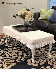 How I Turned a Goodwill Coffee Table Into A Custom Slipcovered Ottoman – just plain jilly Cottage Living, Living Room, Cottage Furniture, Diy Coffee Table, Slipcovers, Ottoman, Upholstery, Chair, Sew
