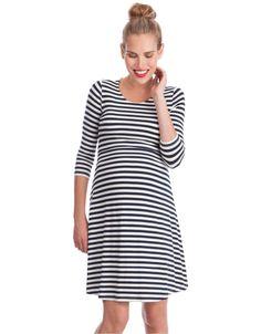 Blue Nursing Dress - Stripes1