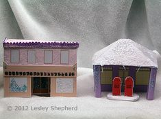 Miniature glitter Gas station and Store