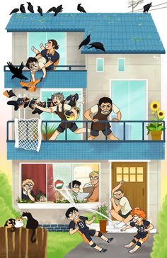 Haikyuu!! ~~ Welcome to the Crow Household. Note the rather specific cats hanging outside. Kawaii! :: [ art by peachymints.tumblr.com ]