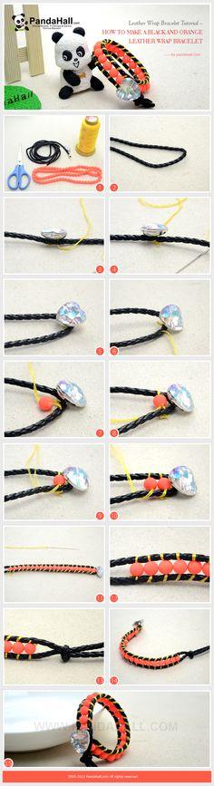 Leather Wrap Bracelet Tutorial - Make a Black and Orange Leather Wrap Bracelet