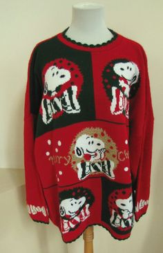 Vintage Snoopy & Friends Peanuts Christmas Party Sweater 1X Crew Red Green USA  #SnoopyAndFriends #Crewneck