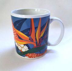 Hilo Hattie Mug Bird of Paradise Hawaii Tropical Flowers Coffee Cup Vintage 1991