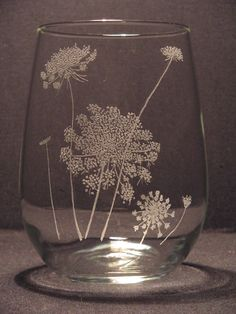 Queen Anne's lace Etched Stemless Wine Glass by WastedTalentDesigns on etsy [Queen Anne's lace, Daucus carota, Apiaceae]