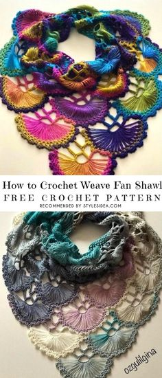 How to Crochet Weave Fan Shawl Free Pattern | Crafts Ideas