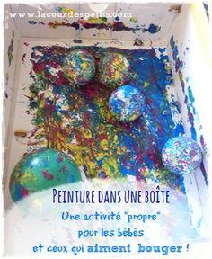 Peinture dans une boîte : une activité pour peindre proprement et réaliser une oeuvre avant 1 an ! Cette activité nécessite peu de matériel et permet aux plus jeunes comme aux plus grands de peindre en s'amusant et sans salir partout ! http://www.lacourdespetits.com/peindre-dans-boite-activite-peinture-pour-bebe/ #golfballspainting #babypainting #peinturepourbebe  Merci pour le partage !