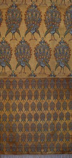 Antique Persian Textile. Silk Brocade with Gold thread Textile Table Cover Qajar Dynasty - 1795 -1925 A.D Circa 1900
