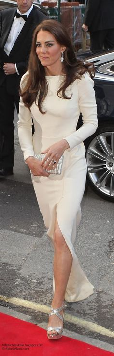 William and Catherine attended an exclusive dinner at Claridge's in May. Kate wore a Roland Mouret Lombard gown. The creamy white colour, long sleeves and split made for a gorgeous look.