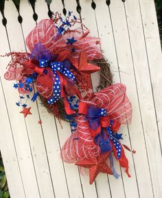 USA Wreath, Forth of July Wreath, Patriotic Wreath, Star Wreath,Red white and Blue Wreath,Whimsical Patriotic Wreath,Deco Mesh fourth Wreath...