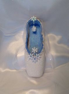 Nutcracker Snow themed decorated pointe shoe. by DesignsEnPointe, $40.00