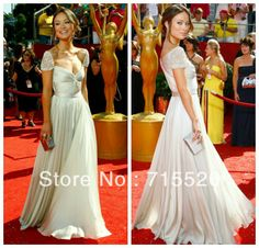 Free Shipping New Sexy Chiffon Beadings Cap Sleeves Sweetheart olivia wilde Celebrity Red Carpet Dresses Evening Gown $109.00