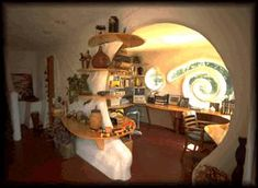Earthship Interior | creative interior design can be made with cob
