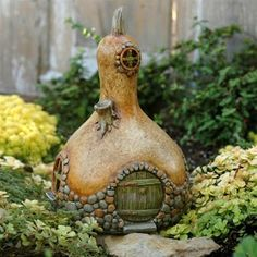 Fairy house - in a gourd.  Perfect addition to the Fairy Garden!