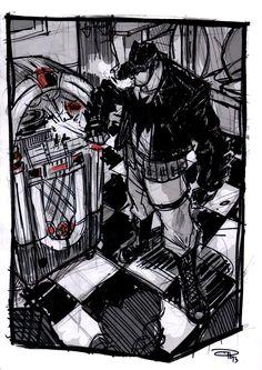 Batman at the Jukebox - Rockabilly Universe by DenisM79.deviantart.com on @deviantART