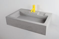 Kast Jura, a Medium-sized concrete basin with integrated soap dish and surface-mounted tap. Jura J.A1 - Grey 2
