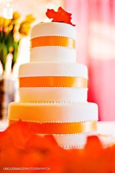 Fall Modern Orange Round Wedding Cakes Photos & Pictures - WeddingWire.com