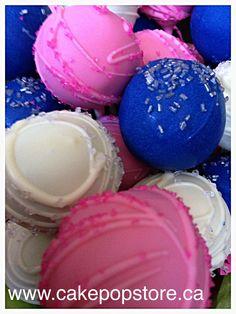 Pink, blue & silver cake pops
