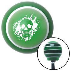 White Skull in a Mess Green Stripe Shift Knob with M16 x 15 Insert - Give your interior the ultimate look. American Shifter's Elite(TM) series shift knobs are made from the highest quality components resulting in a superior feel on every shift. Each shift knob is designed and customized in the USA by skilled shift knob artisans who have a trained eye on every detail. American Shifters shift knobs offers an exclusive aluminum threaded insert designed to be screwed onto your shift arm. You…