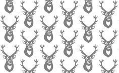 Gray Deer fabric by efolsen on Spoonflower - custom fabric - buck head, grey and white, nature print, animal