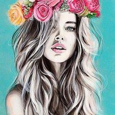 искусство, красиво, круто, Даутцен Крез, рисунок, рисунки, девушка, розовый