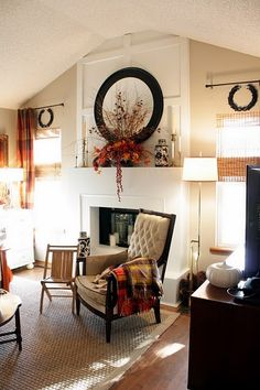 for our living room fireplace and pitched ceiling and flanking windows.Idea for our living room fireplace and pitched ceiling and flanking windows. Fall Living Room, Living Room With Fireplace, Living Spaces, Living Rooms, Fall Home Decor, Autumn Home, Autumn Mantel, Fall Mantels, Autumn Decorating