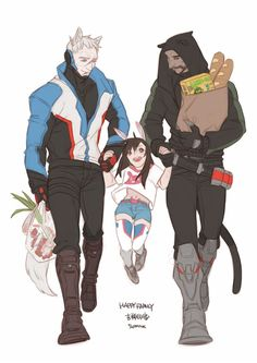 Soldier 76, Reaper and Dva, Overwatch