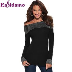 Fashion Long Sleeve Slash Neck T Shirt Women 2016 Spring New Black Sexy Off  Shoulder Tops e0d711a383ca