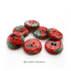 Handmade Polymer Clay Button, Poppies from Creative Treasures