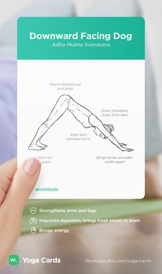HOW TO: Downward Facing Dog yoga position – visual workout sequence pose and benefits guide for beginners from the YOGA CARDS deck by WorkoutLabs: https://WorkoutLabs.com/yoga-cards/
