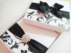 Glitzy and sparkly black and white themed wedding invitation with matching presentation box by Amor Designs
