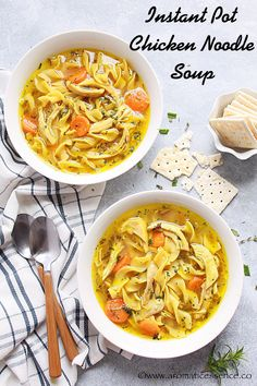 Can use veggie broth and no chicken. Instant pot chicken noodle soup recipe with step-by-step pictures. Homemade chicken soup with egg noodles. Chicken and noodle soup recipe. Instant Pot Chicken Noodle Soup Recipe, Homemade Chicken Soup, Chicken Pasta Recipes, Healthy Chicken Recipes, Soup Recipes, Cooking Recipes, Cooking Hacks, Cooking Ideas, Crockpot Recipes