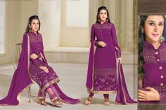 Remarkable Violate Designer Salwar Suit. Fulfill your wish to look rich by clad in this beautiful designed Georgette Salwar Suit with Embroidered work. As shown as bottom and dupatta come with. http://www.addsharesale.com/